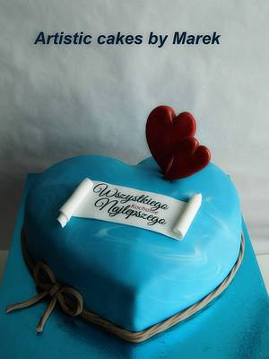 Blue Heart birthday - Cake by Marek