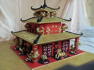 Chinese zodiac pagoda birthday cake - Cake by Maggie