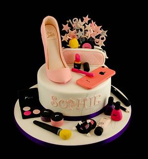 Shoe and makeup cake - Cake by Sweet Harmony Cakes