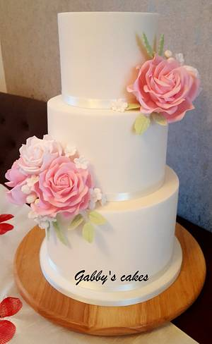 Simple and elegant wedding cake - Cake by Gabby's cakes