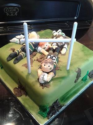 Rugby scrum cake - Cake by Karen's Kakery