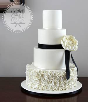 Monochrome ruffles - Cake by Cove Cake Design