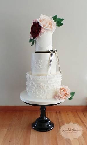 Delicate shimmer & ruffled wedding cake - Cake by Helen Ward