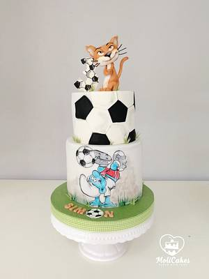 Smurf and football - Cake by MOLI Cakes