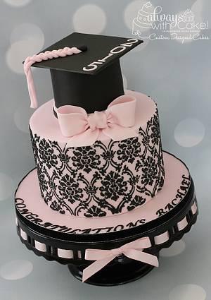 Damask Grad Cake - Cake by AlwaysWithCake