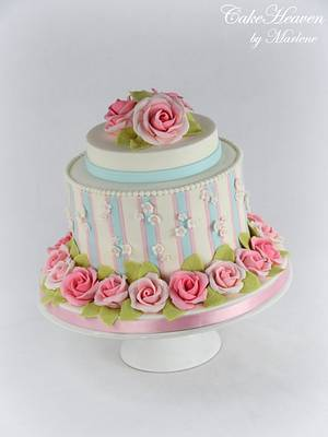 Striped Cake with Gumpaste Roses - Cake by CakeHeaven by Marlene