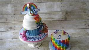 Rainbow 1st Birthday - Cake by DejaCakes