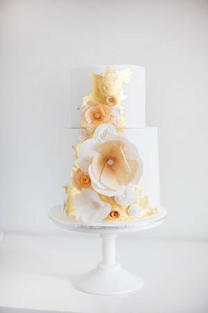 Gold, Peach & Ivory Wedding Cake - Cake by Sweet Bakes