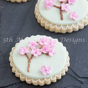 Cherry Blossom Trees Piped On A Cookie - Cake by Bobbie