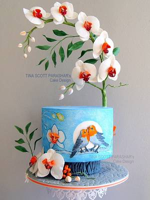 Winter Love - Orchids (my Gold entry for 21st WOC) - Cake by Tina Scott Parashar's Cake Design