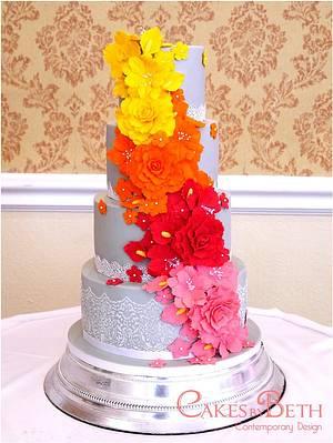 Tropical Cascade wedding cake - Cake by Beth Mottershead