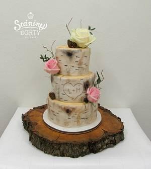 Wedding cake - birch bark - Cake by Stániny dorty