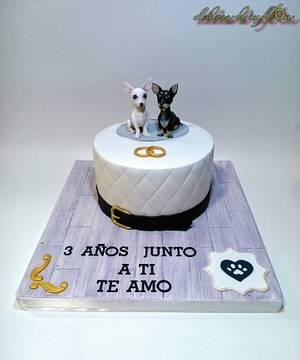 Tarta aniversario con chihuahuas  - Cake by Floren Bastante / Dulces el inflón