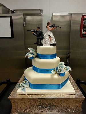 Blue Calla Lily Wedding cake - Cake by Danielle