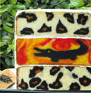 Leopard and picture inside cake combination - Cake by Terry