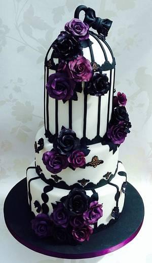 Black and purple roses wedding cake - Cake by Cakexstacy
