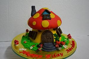 Smurfs Mushroom Cake - Cake by Sheela