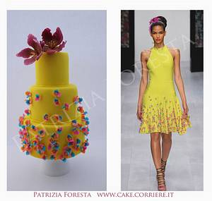 Fashion cake yellow and flower - Cake by Patrizia Foresta