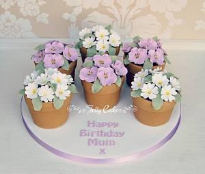 Flower Pot Birthday Cakes - Cake by JellyCake - Trudy Mitchell