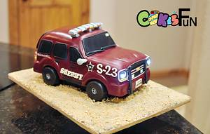 Sheriff's Car with Functioning Headlights - Cake by Cakes For Fun