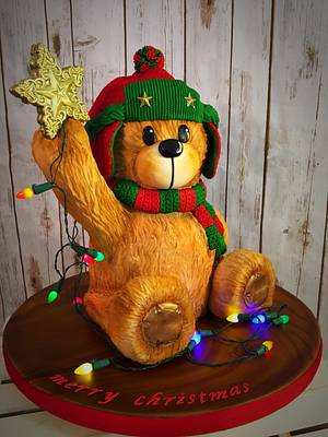 Teddy bear placing the Star! - Cake by The Cake Mamba