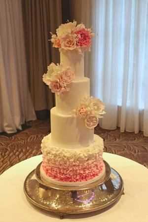 Pink Ombre Ruffles - Cake by Rosewood Cakes