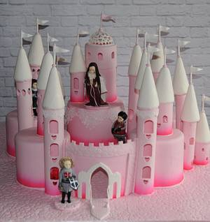 Pink and White Castle - Cake by Trickycakes