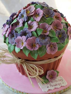 Giant Cupcake Violet Plant Pot - Cake by Scrummy Mummy's Cakes