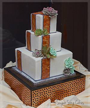 Square Craftsman Inspired Wedding Cake with Succulents - Cake by lorieleann