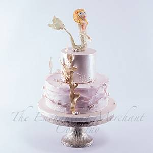 Pink and gold mermaid themed cake - Cake by Enchanting Merchant Company