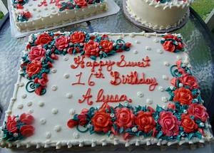 Coral and peach buttercream floral cakes - Cake by Nancys Fancys Cakes & Catering (Nancy Goolsby)
