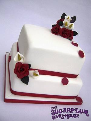 2 Tier Square Roses & Lily Wedding Cake - Cake by Sam Harrison