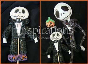 Jack Skellington $ Sally marshmallow lollipop - Cake by Inspiration by Carmen Urbano