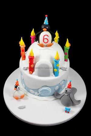 Pingu Birthday Cake - Cake by Strawberry Lane Cake Company