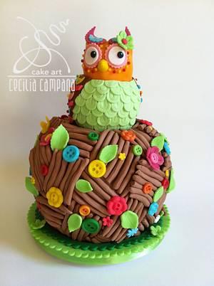 Button owl - Cake by Cecilia Campana