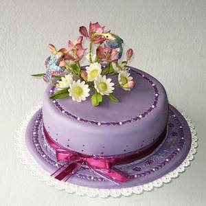 Hummingbirds at flowers - Cake by Eva Kralova