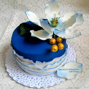 Blue Magnolia - Cake by Tina Scott Parashar's Cake Design