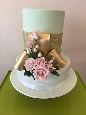 Mint and pink wedding cake - Cake by The Hot Pink Cake Studio by Ipshita