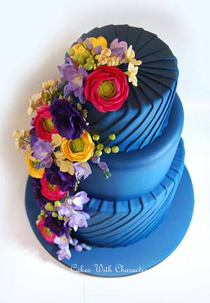 Deep Blue Wedding Cake - Cake by Cakes With Character
