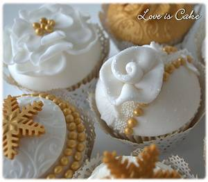 Winter Gold Wedding Cupcakes featured in Cake Central magazine - Cake by Helen Geraghty