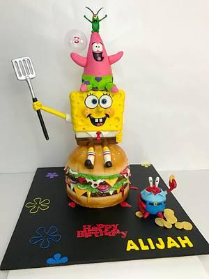 Spongebob Hamburger cake  - Cake by The Cake Mamba
