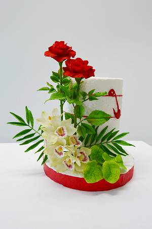 Red Roses and Orchid cake - Cake by Catalina Anghel azúcar'arte