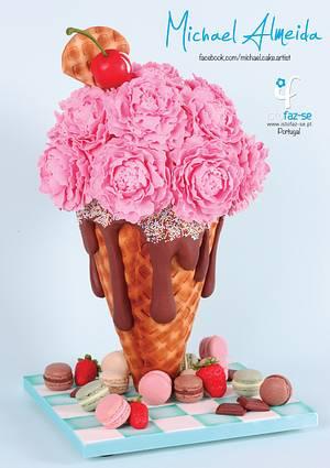 Mama's Boys Collaboration: Ice Cream Cone Peonies - Cake by Michael Almeida