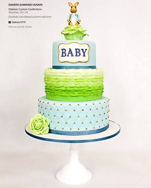 Peter Rabbit Baby Shower Cake Featured in Cake Central Magazine - Cake by Dakota's Custom Confections