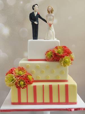 Jennifer Coral Poppy Wedding Cake - Cake by Scrummy Mummy's Cakes