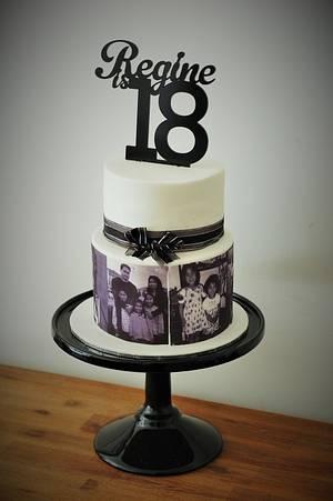 Regine's Black and White 18th Birthday Photo Cake  - Cake by Zelicious
