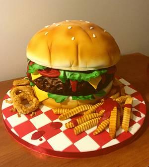 Giant Hamburger cake, fries and onion rings - Cake by The Cake Mamba