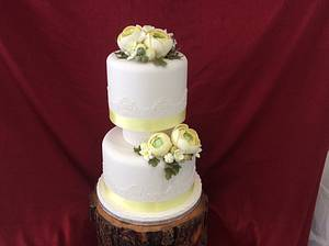 Yellow Renuculus flower wedding cake  - Cake by carefreecakes