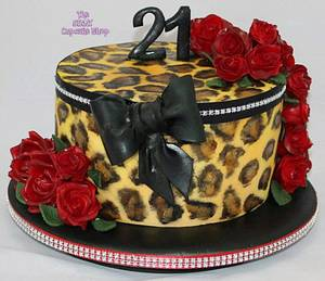 Leopard print and roses - Cake by Amelia Rose Cake Studio