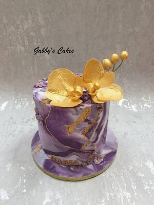 Purple Beauty with gold orchids - Cake by Gabby's cakes